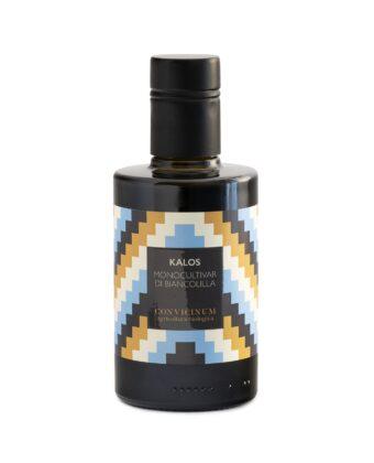 """Olio extra vergine Biologico monocultivar di biancolilla """"Kalos"""" di Convicinum scatola bottiglie"""